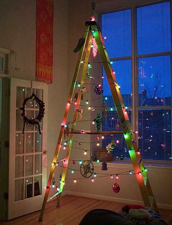 Top 36 simple and affordable diy christmas decorations minimalist ladder christmas tree diy christmas decorations 27 solutioingenieria Images