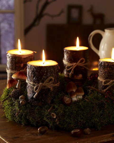 christmas-candleholders-wooden-candles-diy-forest-motif-mushrooms-green-meadow-idea