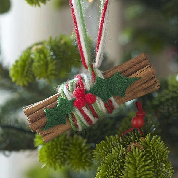 christmas ornaments cinnamon sticks yarn holly felt