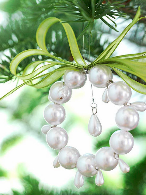 christmas tree ornaments pearls wire old necklace