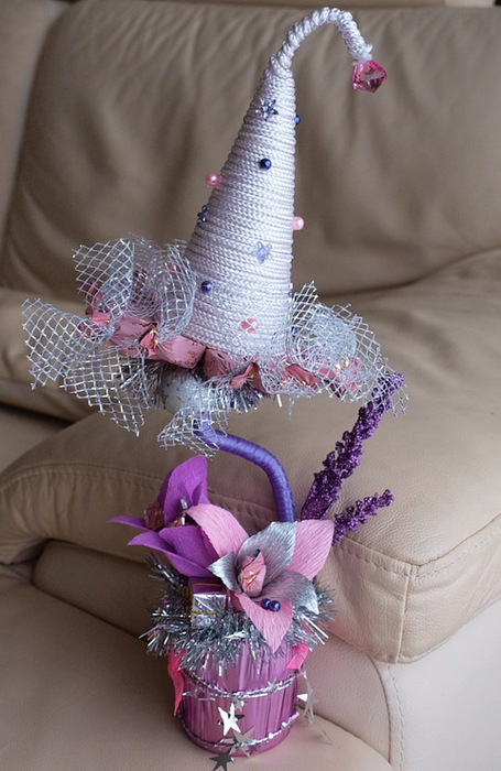 diy christmas gift idea topiary tree silver tat pink lily small gift boxes motif