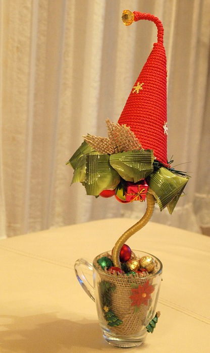 diy christmas topiary trees impressive gift idea glass tea cup tat craft paper decoupage
