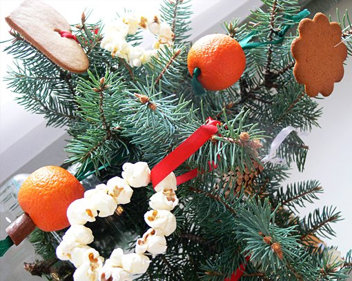 diy christmas tree ornaments ideas popcorns oranges gingerbread cookies