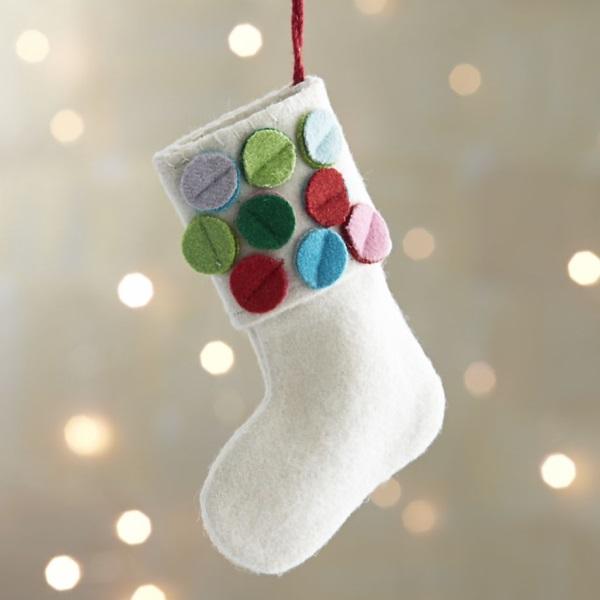 Diy Christmas Tree Ornaments Ideas White Felt Stocking