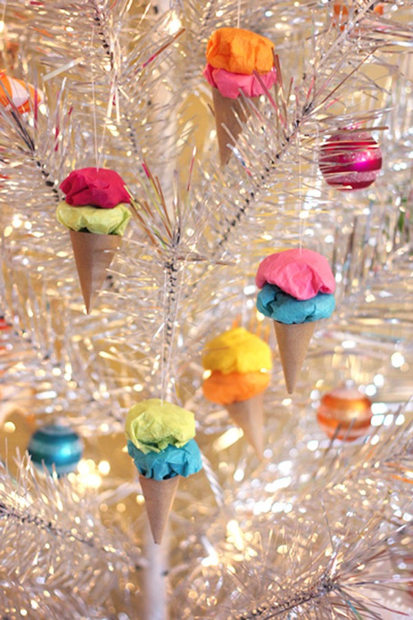 handmade christmas tree ornaments ice cream cones paper