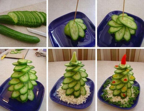 homemade-edible-christmas-trees-cucumbers-white-cheese