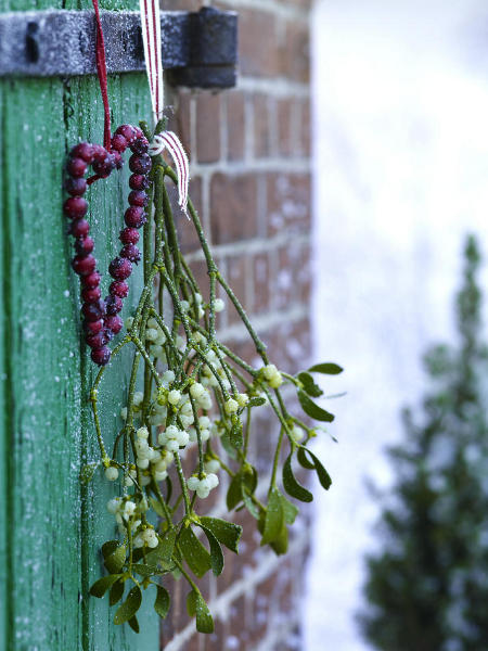 outdoor-christmas-decoration-rosehips-mistletoe-branch-door