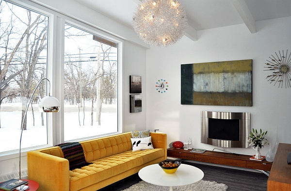 accent of yellow in a modern living room
