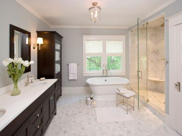 bathroom design in soft grey has a calming effect