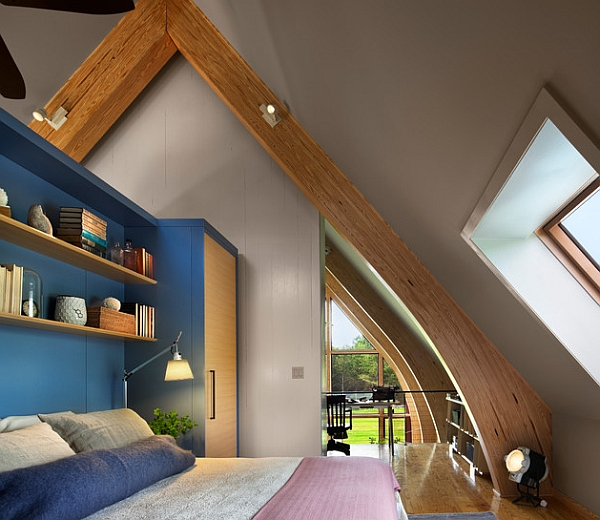 blue shelves in contemporary bedroom design wooden beams