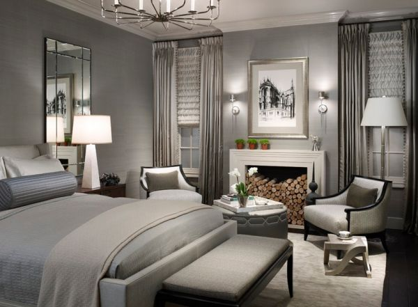 combination of grey for stylish bedroom interior