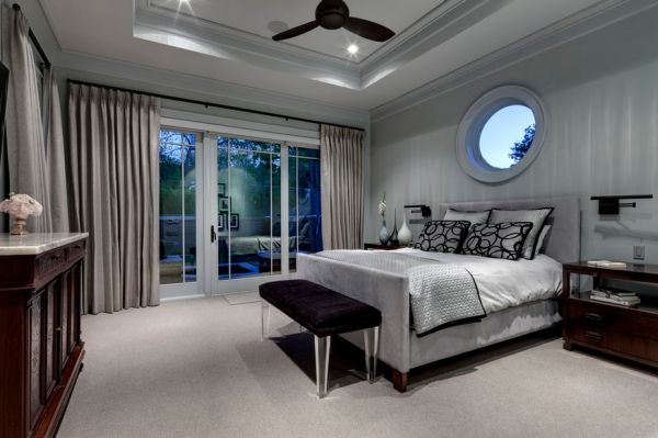 contemporary bedroom in delicate shades of silver and gray