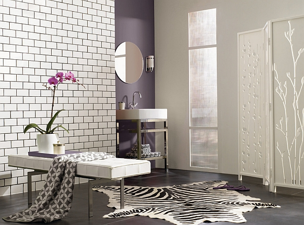 beautiful purple and grey color combination in interior design trend 2014