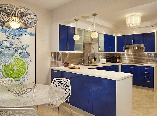 fashion color trends for 2014 deep blue modern kitchen