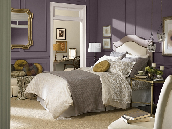 modern bedroom design in fashionable soft purple shade