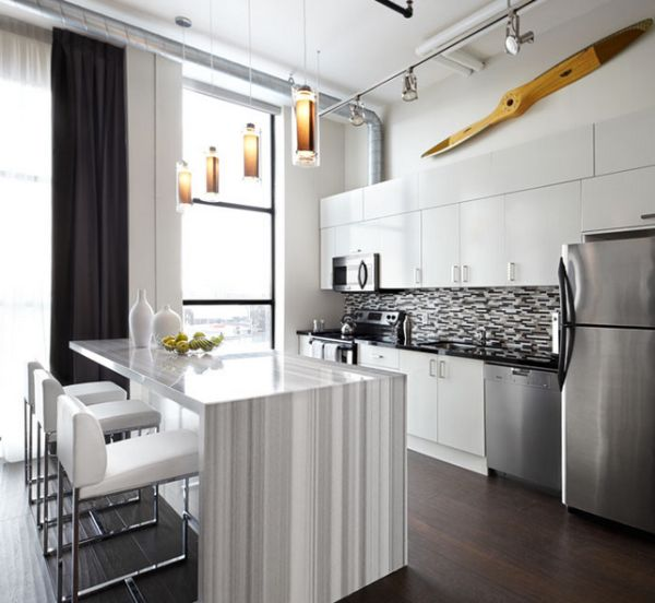 modern kitchen design in soft grey and white