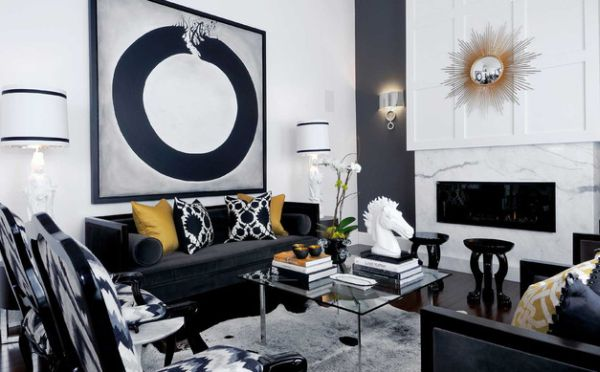 stylish interior design gold combined with white and navy blue
