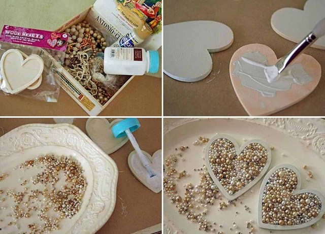 diy valentines day decor ideas hearts pearls old necklaces