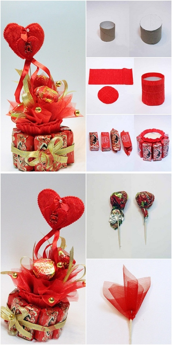 diy valentines day gift chocolates organza toothpicks toilet paper rolls