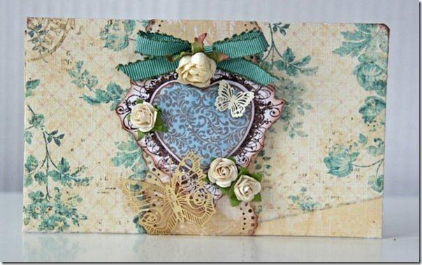 handmade valentines day card vintage pattern heart butterflies