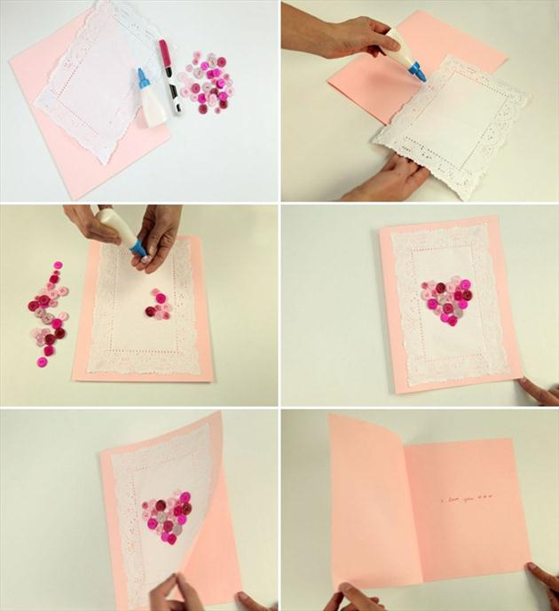 handmade valentines day card tutorial pink buttons kids