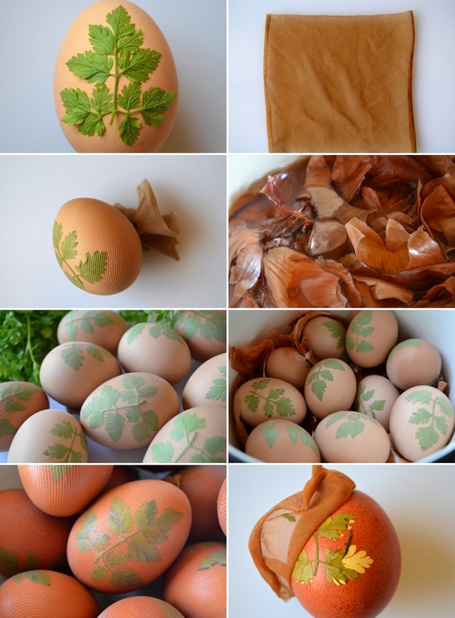 naturally dyed easter eggs onion skins floral stencils