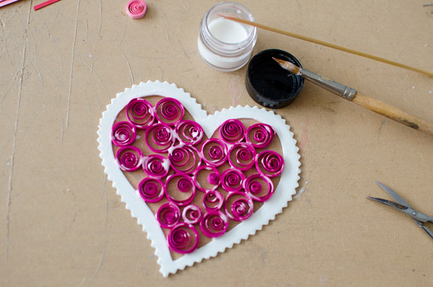 valentines day craft idea for kids homemade holiday heart decoration spiral gluing