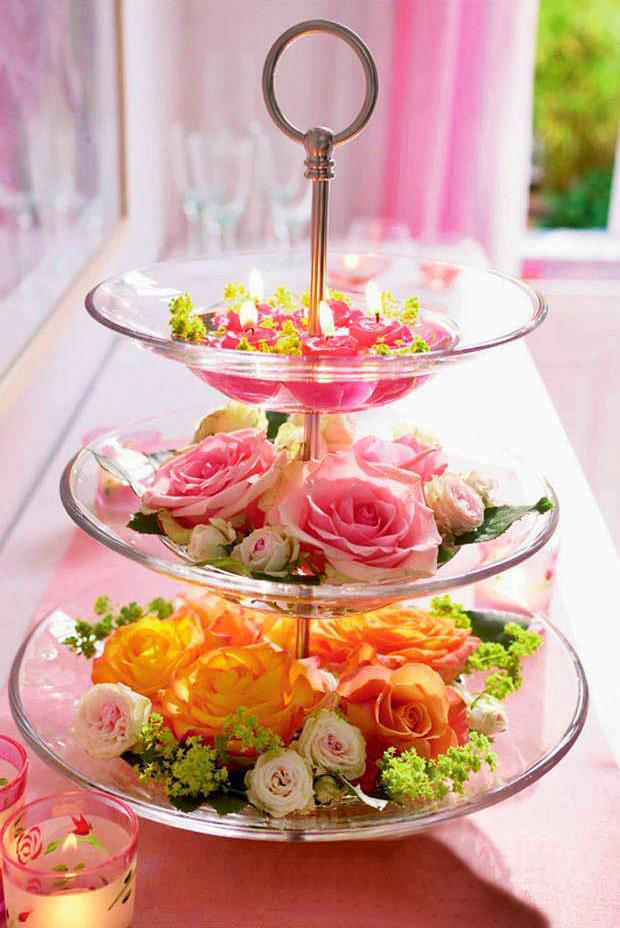 Valentine's Day decorating ideas home flowers glass tiered stand roses candles