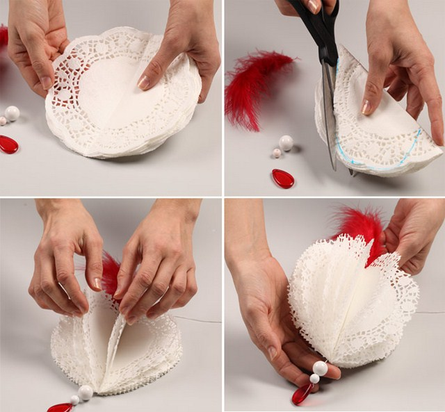 valentines day decorating ideas home paper doilies garland beads