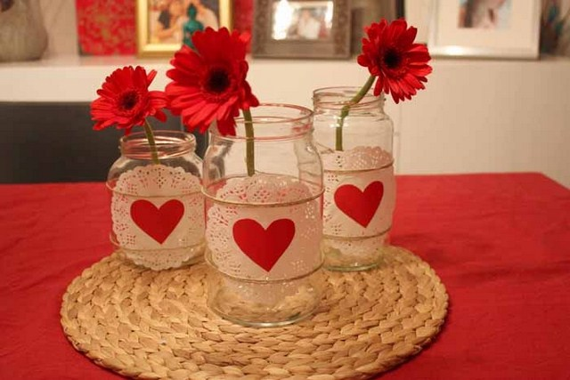 valentines day diy home decor ideas glass jars doilies hearts