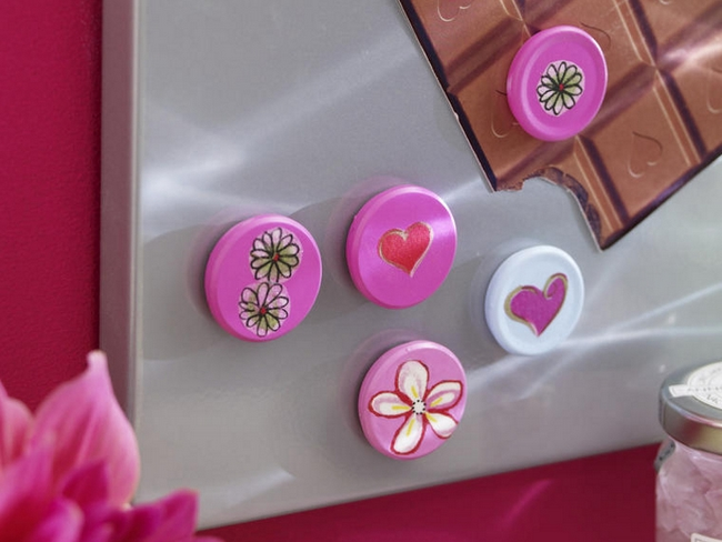 diy mothers day gifts magnets pink decoupage flowers hearts