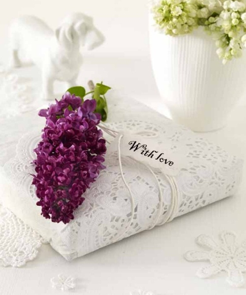 homemade mothers day gift ideas book wrapped doilies lilac