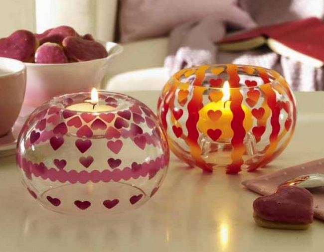 homemade Mother's day gift ideas  decorate glass candle holders