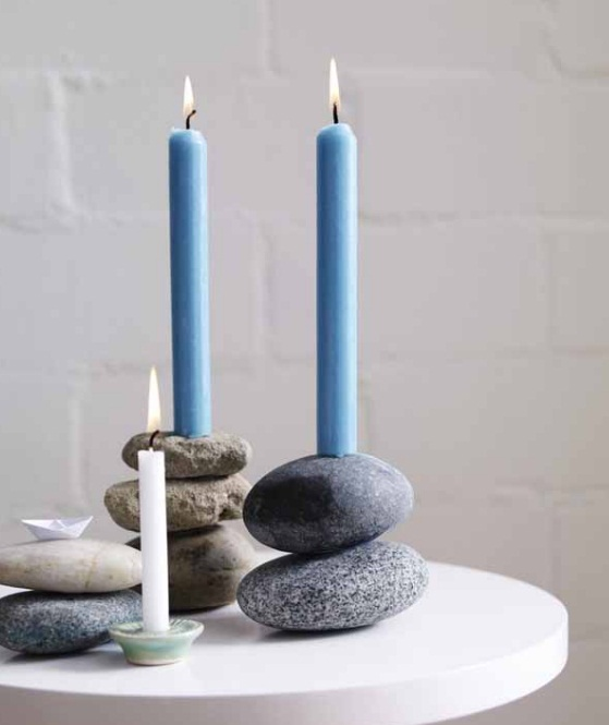 homemade Mother's day gift ideas  flat river stones candle sticks