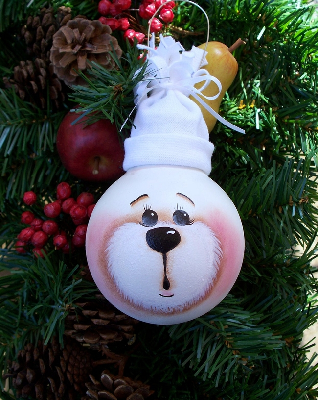 Ideas for Christmas ornaments made from light bulbs-0020