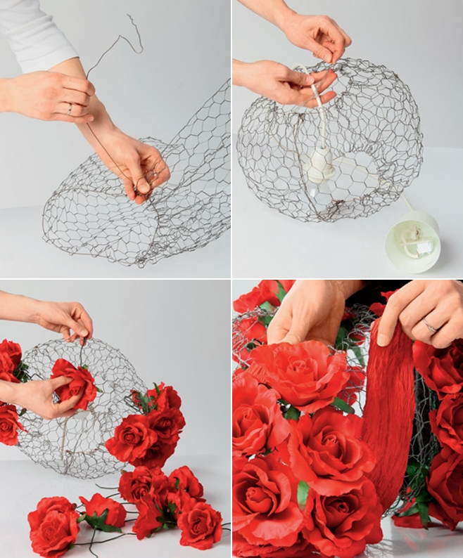 Diy lampshade project decorated with romantic red silk roses diy lampshade project tutorial steps making wire frame greentooth Gallery
