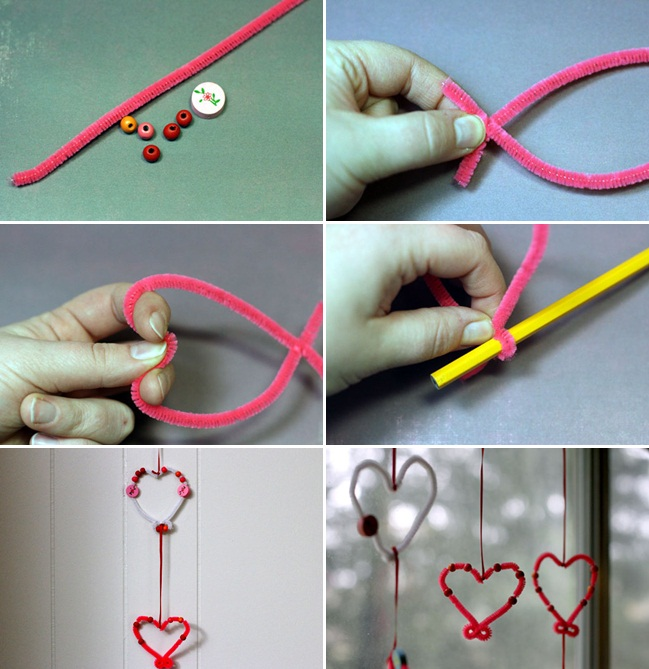 valentines day crafts kids easy decor garlands pipe cleaners window
