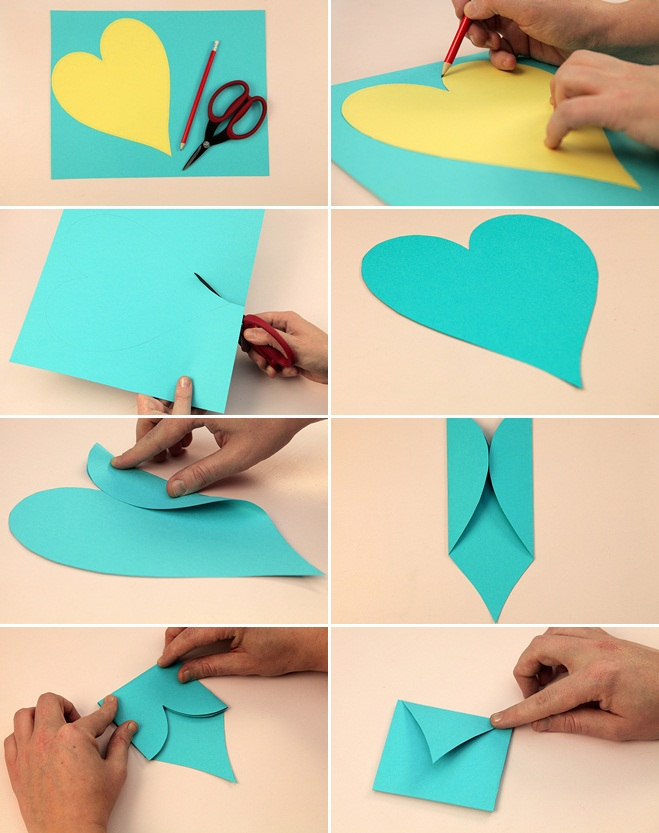 Valentine's Day crafts for kids easy ideas envelope fold heart shape