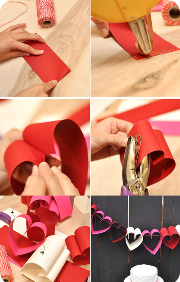 valentines day crafts kids easy paper garland  hearts project
