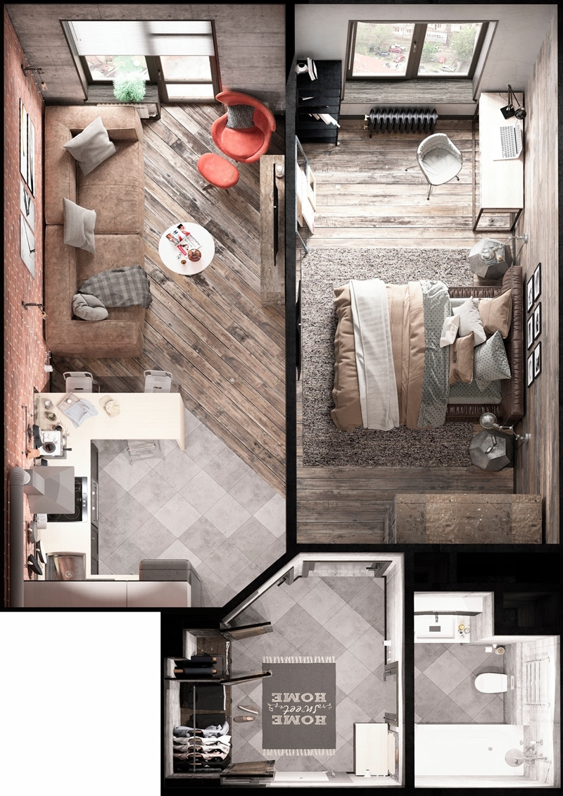 Bold Decor In Small Spaces - 3 Homes Under 50 Square ...